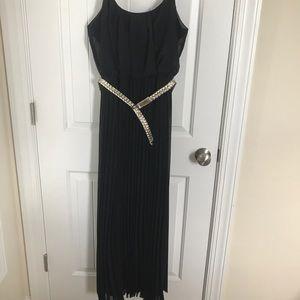 Floor length black chiffon dress